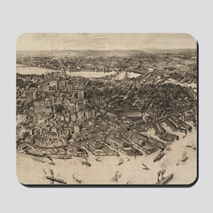 Vintage Pictorial Map of Boston (1905) ( Mousepad